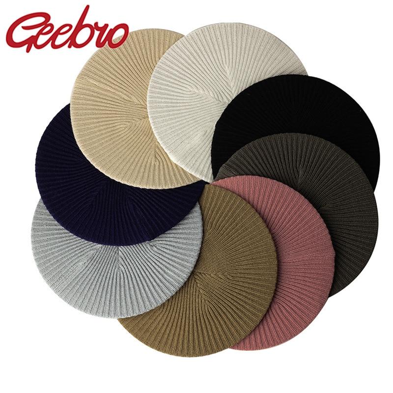 Geebro Women's Fashion Casual Plain Knit Beret Hat Spring Autumn Berets for Women Ladies Elastic Art