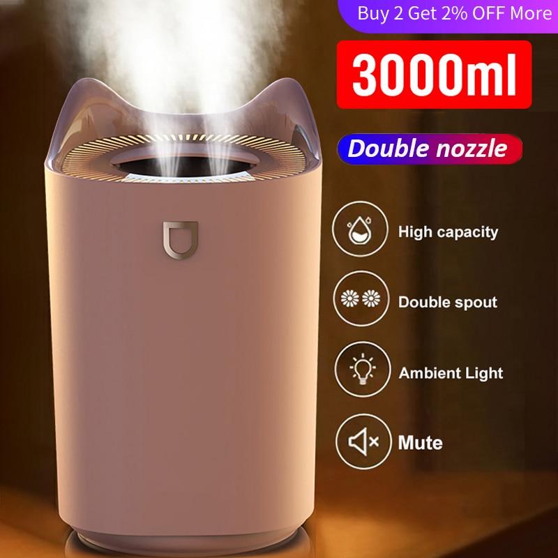 مرطب هوائي USB 3000 ML مزدوجة فوهة المرطب ناشر رائحة مع مصباح ليد ملون الثقيلة الضباب جهاز رذاذ بالموجات فوق الصوتية زيت طبيعي for xiaomi