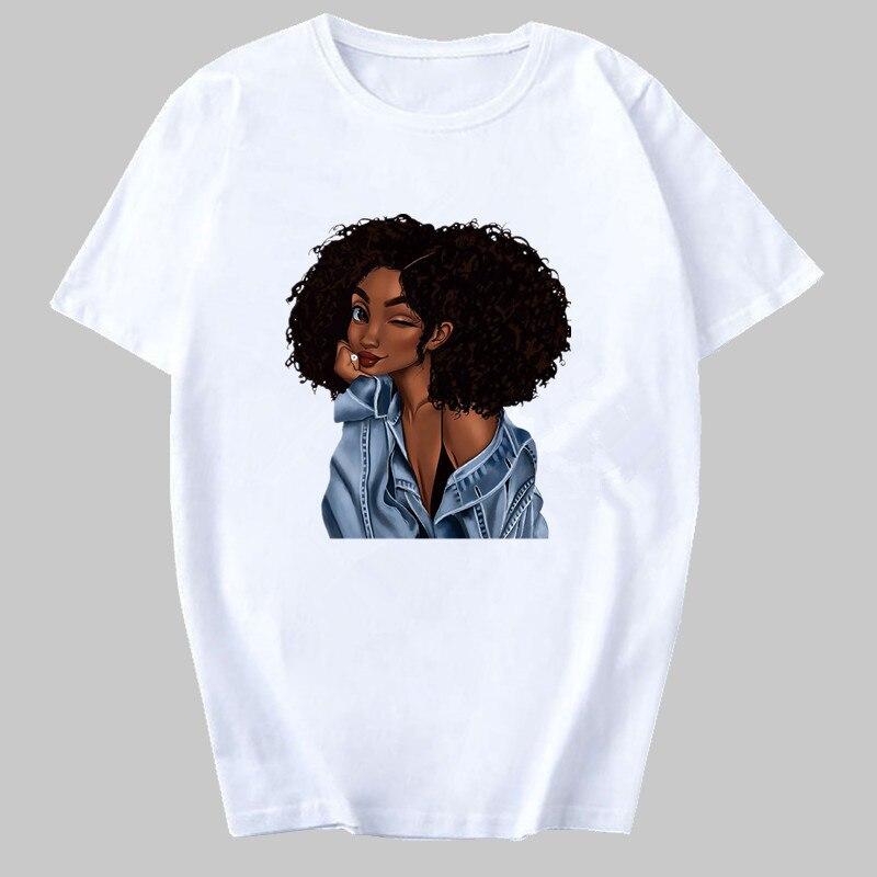 Cool Melanin Black Girl Print Female T-shirt Harajuku T-shirts for Women Summer Hip Hop T Shirt Punk Tee Shirt Femme Vogue Top