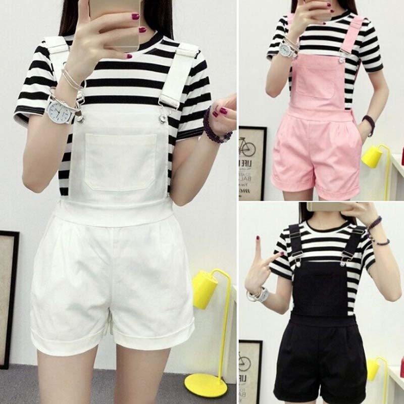 Denim Overalls Women Summer Lovely Jumpsuits Spring Jeans Shorts Female Pink/white/black Overall Jumpsuit