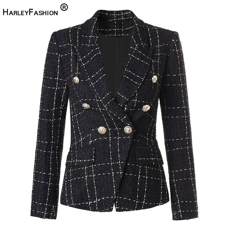 HarleyFashion-جاكيت تويد سميك للنساء ، نمط إنجليزي ، منقوش ، جودة عالية ، نحيف ومدهش ، لباس خارجي