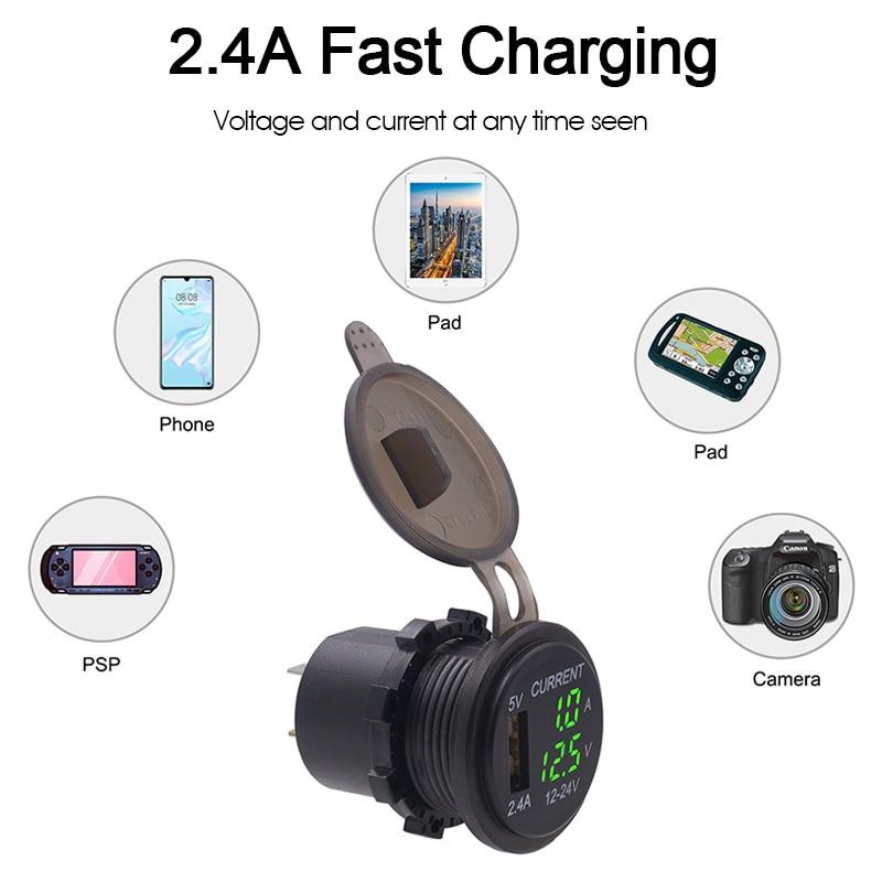 Voltaje medible único USB de 2,4 V Voltímetro amperímetro de voltaje de 6-38V para motocicleta de coche ATV RV SUV barcos a prueba de agua