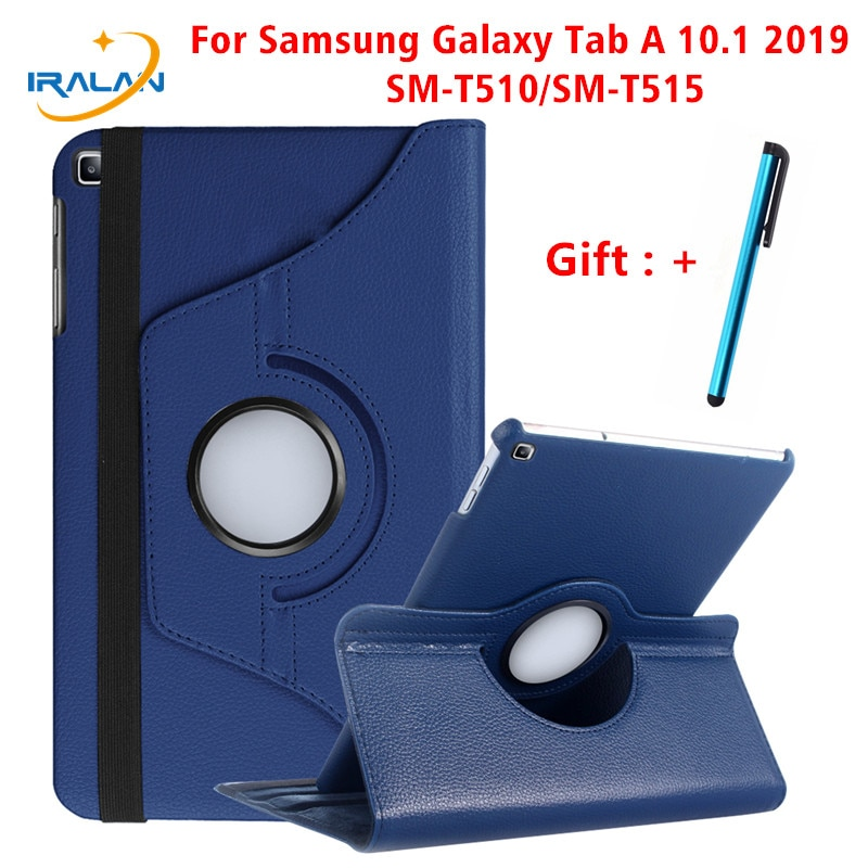 360 Rotating Case for Samsung Galaxy Tab A 10.1 2019 T510 T515 Stand PU Leather Cover for SM-T510 SM-T515 10.1 inch Cover+Stylus