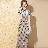 polka dot printing improved cheongsam skirt retro dress high slit stand collar long skirt slim long cheongsam skirt women
