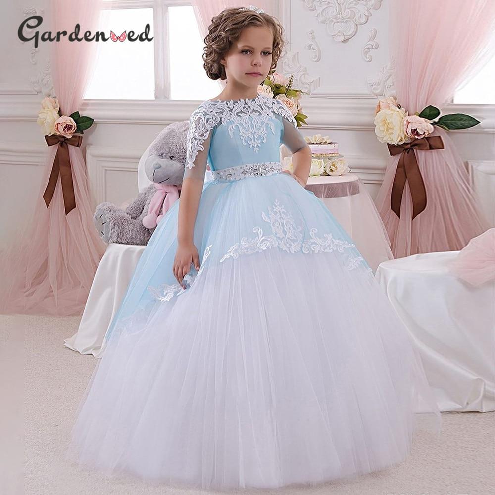 Фатиновое платье принцессы с аппликацией и открытой спиной, пышное кружевное детское платье на свадьбу, детское платье на день рождения, пл...