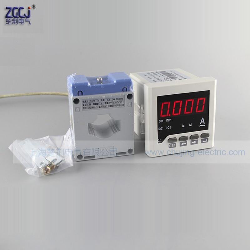 Amperímetro CA monofásico 220V 0-5A 50A 100A 200A 300A 400A 500A AC medidor de corriente 1way relé Salida alarma función amperímetro