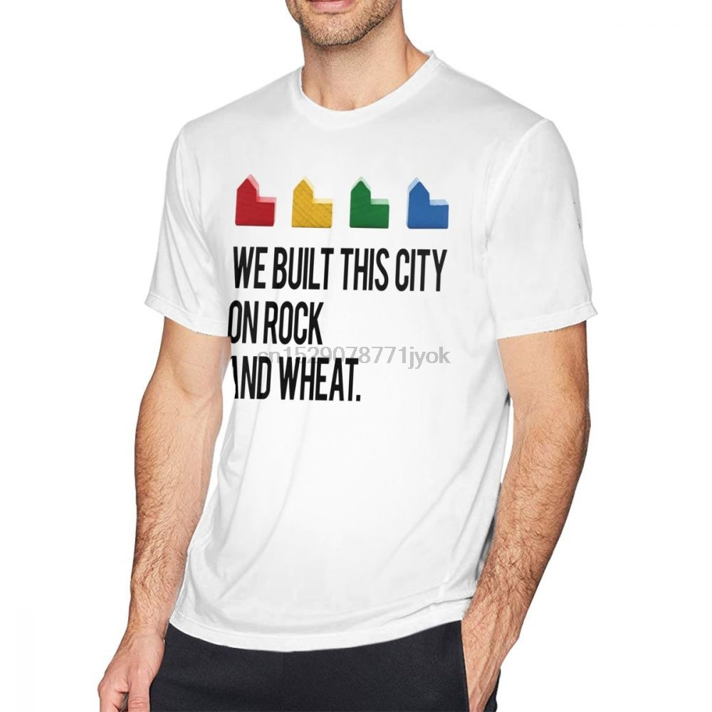 Camiseta Catan construimos esta ciudad sobre rocas y trigo de Catan camiseta manga corta Hombre Camiseta clásica impresa
