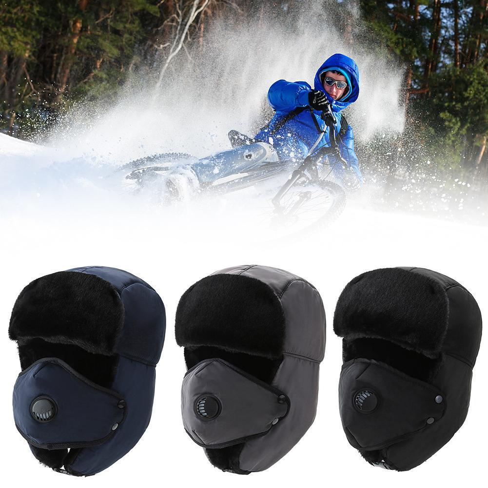 1pc Thick Bomber Hat Unisex Breathable Detachable Mask Men Warm Winter Cold Hats Ski Caps Headwear W