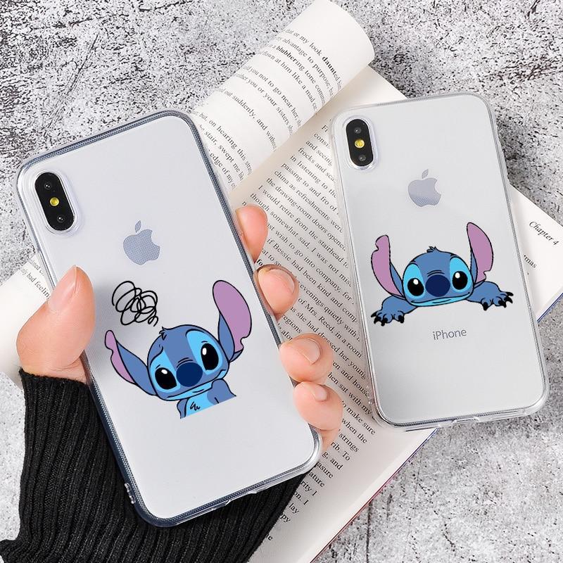 DIFFRBEAUTY, funda de teléfono de silicona transparente con puntada de dibujos animados para iPhone 8 7 6 6S Plus X 10 5 5S SE XS XR XS MAX, funda de teléfono de silicona