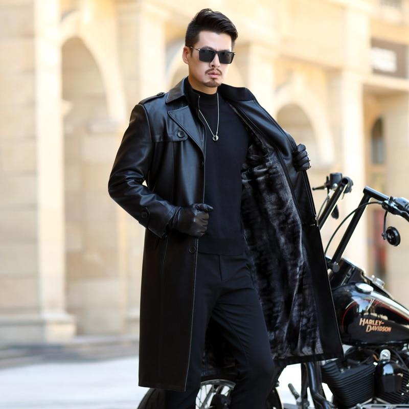 New Autumn Men Long Leather Jacket Long Windbreaker Coat PU Leather Jackets Male Single Button Leather Jacket