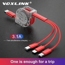 VOXLINK cavo USB retrattile 3 in 1 per iPhone XS X caricabatterie cavo Micro USB per cavi Android USB tipo C per telefoni cellulari