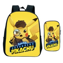 Pokemon Detective Pikachu Backpack Children Bookbags 2Pcs/Sets Kindergarten Backpack Boys Girls Mini School Bags + Pencil Sace