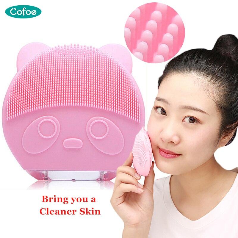 Cofoe limpador de rosto elétrico carregamento escova de limpeza ferramenta beleza à prova dwaterproof água sônica massagem silicone cravo acne poros mais limpo