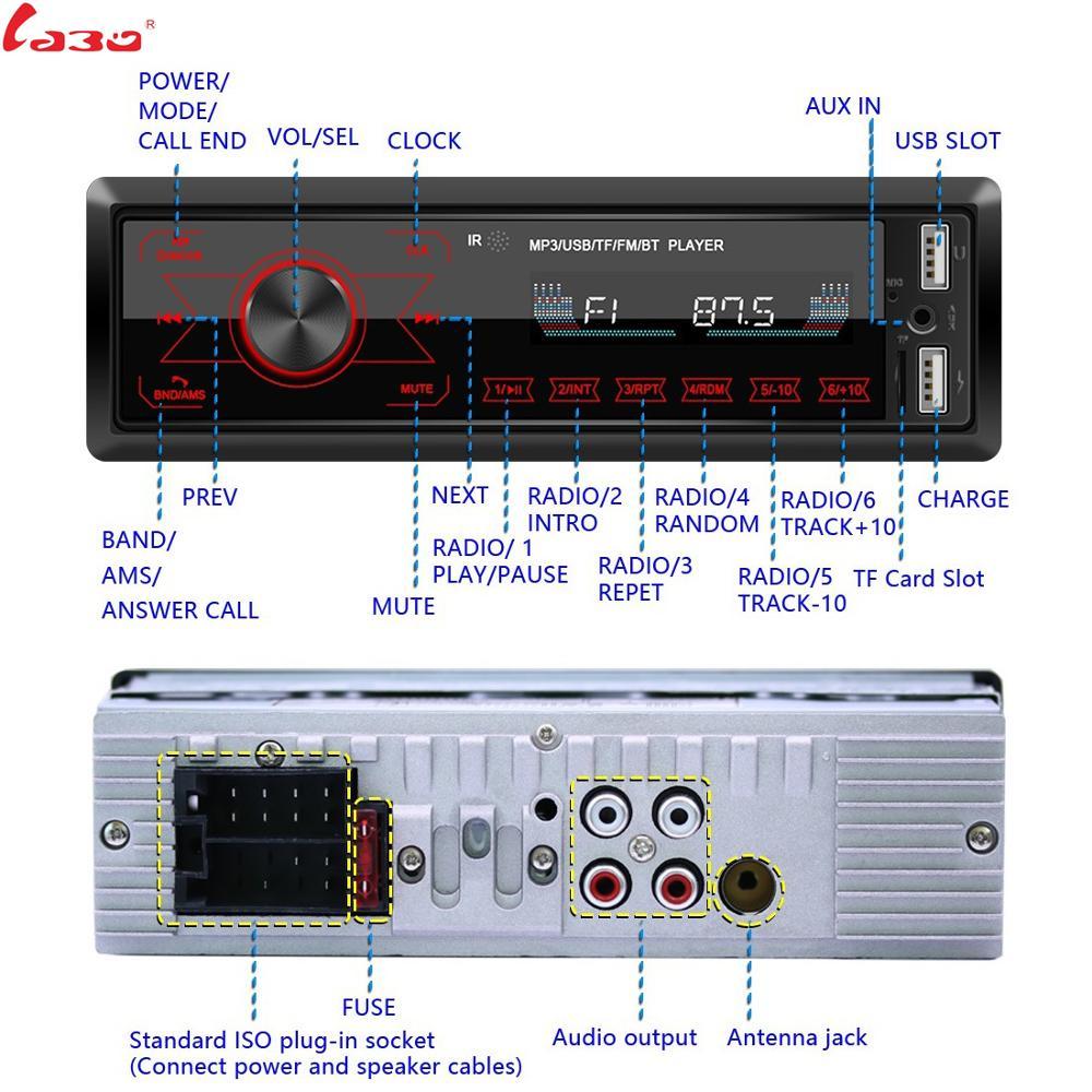 LaBo Car Radio Stereo Player Bluetooth Phone AUX-IN MP3 FM/USB/1 Din/SWC Remote/remote control 12V Car Audio Auto 2020 Sale New