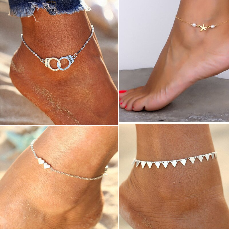 Stainless Steel Jewelry Woman Ankle Bracelet Starfish Shape Star Pearl Beaded Ankle Bracelets for Women Foot Chain Body Jewelry