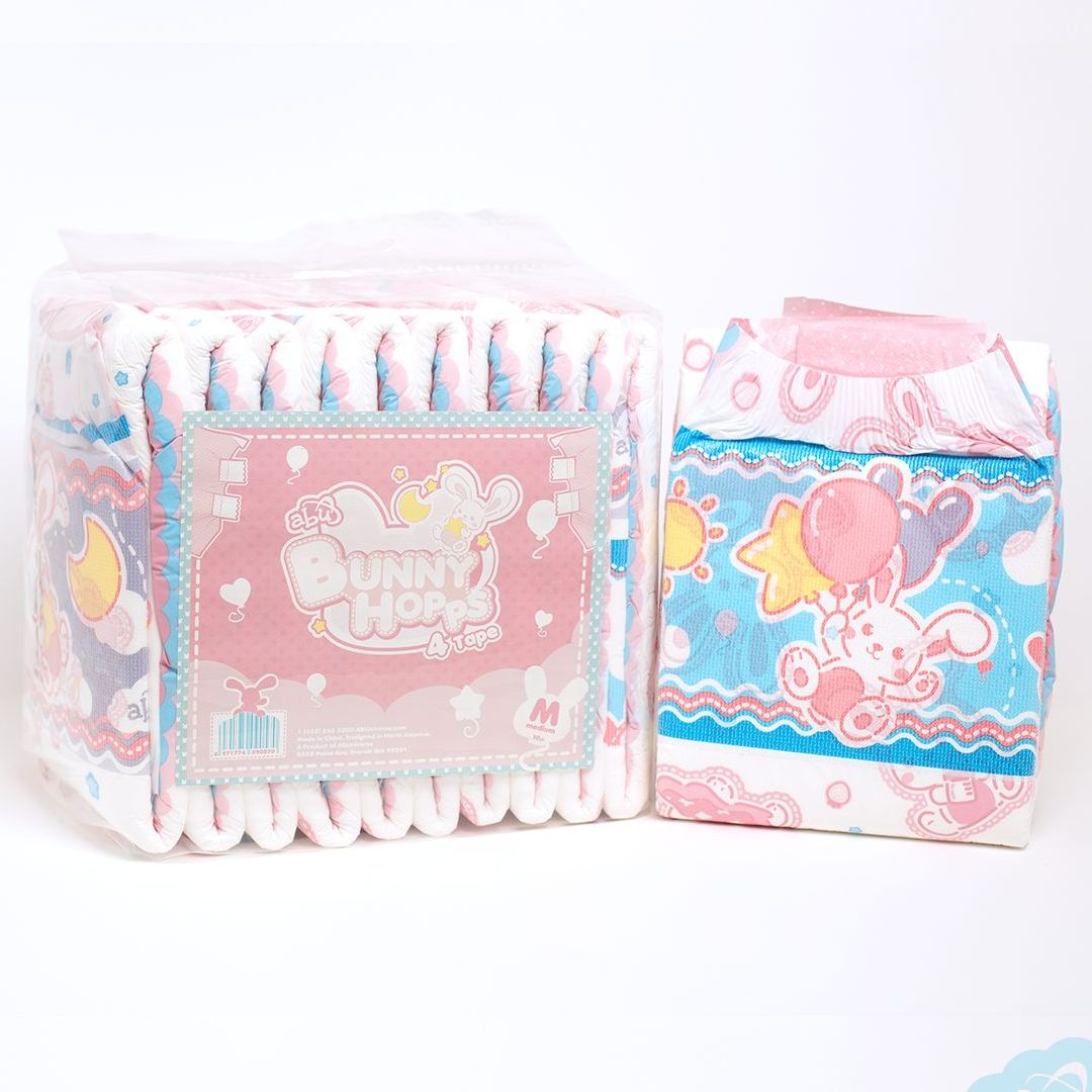 ddlg adult baby diapers abdl bebe cute pink pink rabbit super thick disposable diapers Daddys virtual dummy Diapers Free M/L5pcs