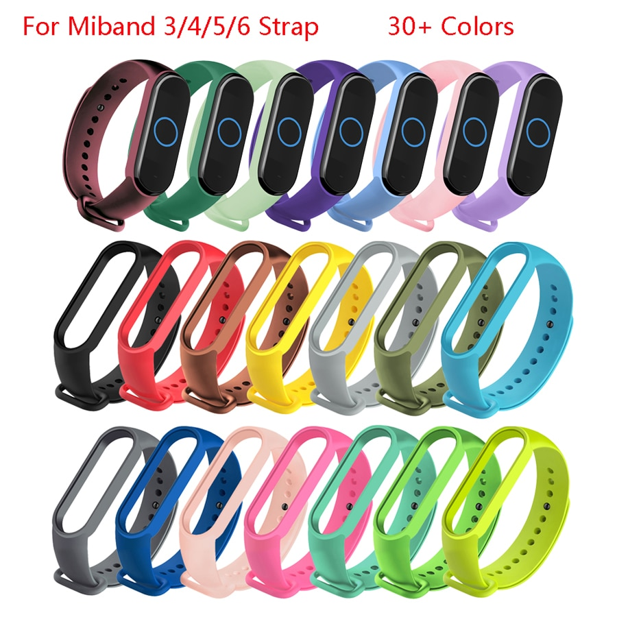 Colors Bracelet for Xiaomi Mi Band 4 5 6 Sport Strap Watch Silicone Wrist Strap For Xiaomi Mi band 5 6 Bracelet Miband 4 3 Strap