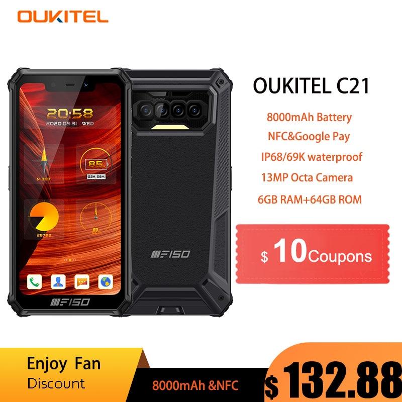 Oukitel F150 B2021 IP68/69K Waterproof Rugged Mobile Phones 6GB+64GB 8000mAh Octa Core NFC 5.86'' HD+ 13MP Camera Smartphone