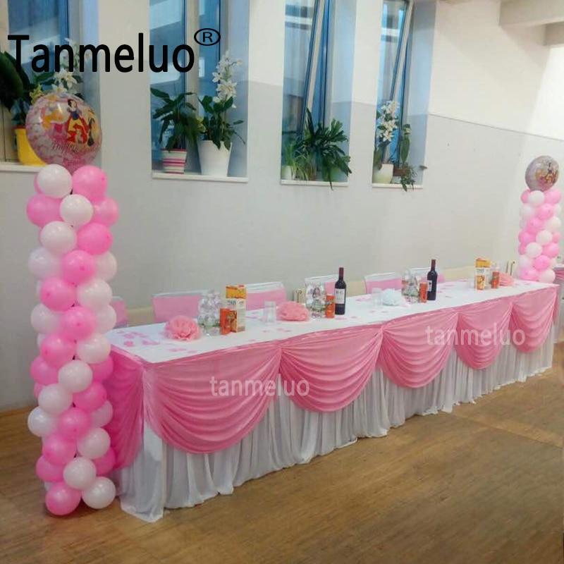 10FT طويل الجليد الحرير مفرش طاولة مفرش المائدة التفاف مع أعلى غنيمة ثنى لحفل الزفاف الحدث الديكور