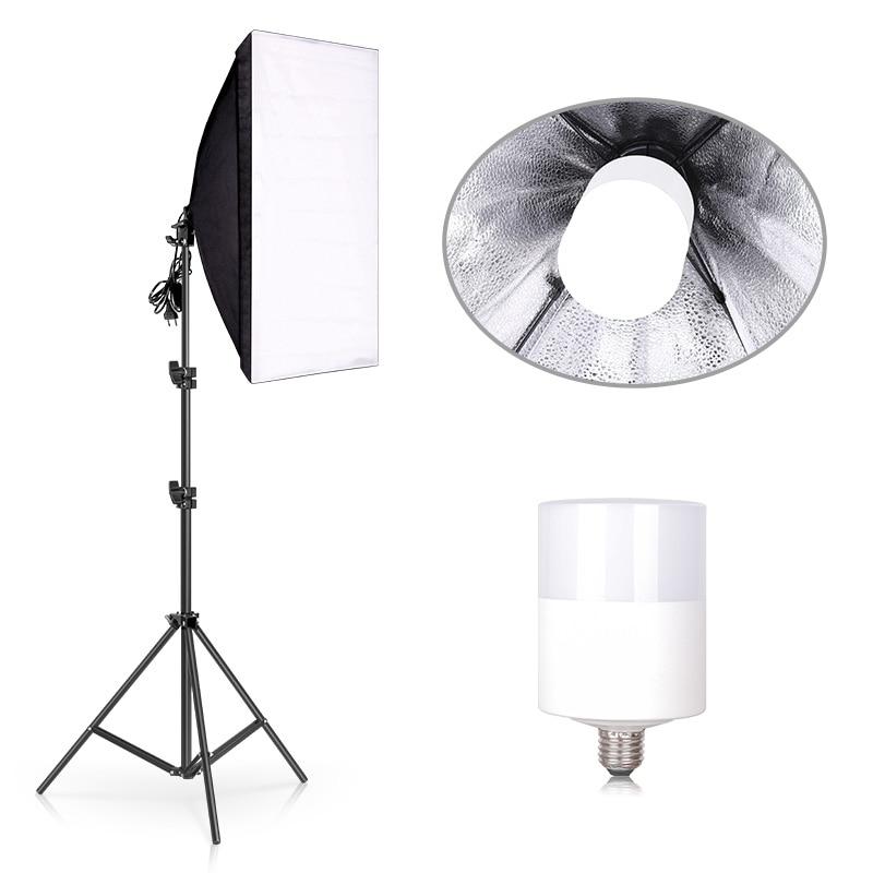 Софтбокс для студийной фотосъемки, комплект освещения 6500K, непрерывное оборудование 50*70 см, софтбокс 20 Вт, светодиодный светильник для портр...