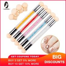 New packaging Sponge Heads Sharp Round Replaceable Powder Brush Shade Gradient Pen Short Handle Nail Art Tool UV Gel Polish