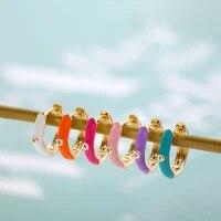 multicolor enamel cz zircon round circle hoop earrings for women small crystal ear huggies earring female fashion jewelry