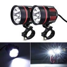 2 pezzi ad alta potenza 60W 8000LM moto faro Spot 2x XM-L T6 LED fendinebbia con interruttore per Honda Yamaha Honda