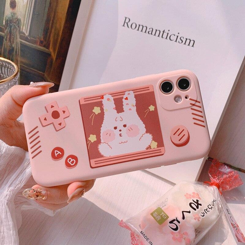 Funda de conejo de consola de juegos rosa de flores de cerezo de dibujos animados 2020 para iPhone 11 11PROMAX 11PRO 7 8 7Plus 8Plus X XS XSMAX XR Soft Case