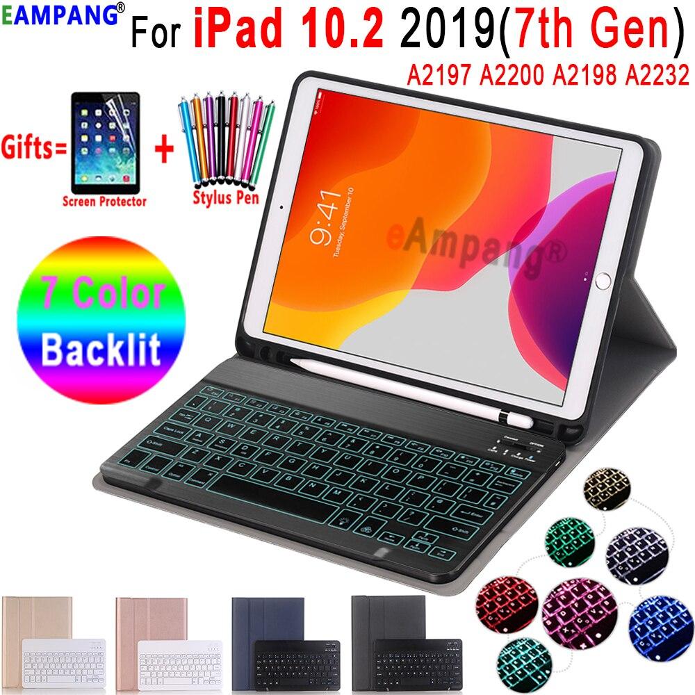 עם תאורה אחורית מקלדת מקרה עבור iPad 10.2 מקרה מקלדת עם עיפרון מחזיק עבור אפל iPad 7th דור A2197 A2200 A2198 A2232 כיסוי