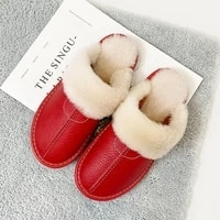 genuine leather women men winter home slippers waterproof warm furry coulpe shoes flats thick comfort ladies slipper
