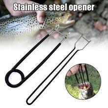 Quente 2 pçs de aço inoxidável boca peixe propagador piler abridor removedor gancho peixe extrator kit ferramentas pesca equipamento do2