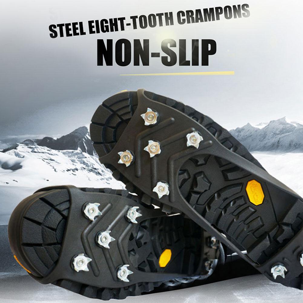 Açık 8 diş krampon Anti-kayak ayakkabısı kapak dayanıklı buzlu buz klip spor kaymaz buz tutucu Cleats ayakkabı krampon zinciri