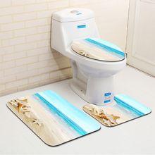 3 pièces/ensemble tapis de salle de bain ensemble anti-dérapant cuisine tapis de bain tapis salle de bain tapis de toilette lavable Style de plage