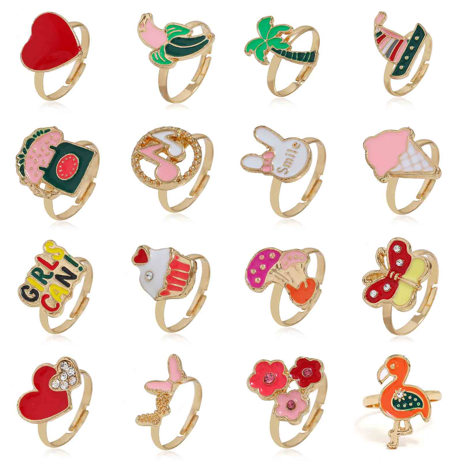 2019 korean fashion kids rings elegant enamel rabbit flower heart ice cream adjustable rings for women rhinestone wedding rings