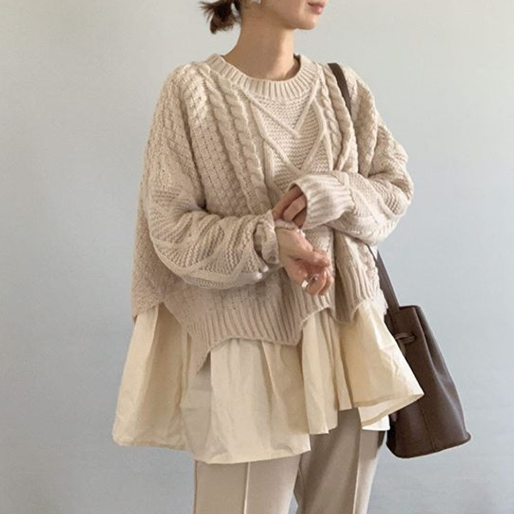 Śliczny wzburzyć sweter Kroea Harajuku kobiety dzianinowy Top sweter Oversize Jumper Jeasey panie modny Top Casual luźny sweter