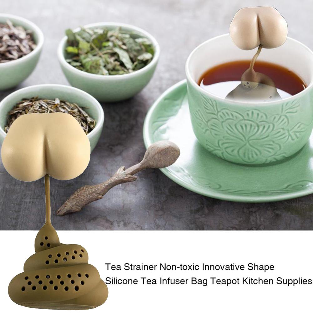 Colador de té de silicona en forma de caca y Turd, difusor de filtro de té de Filtro Infusor de té, accesorios de broma y truco, bolsa de té, accesorios de cocina
