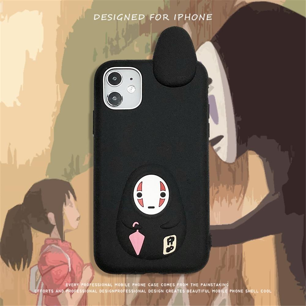 Bonito dos desenhos animados miyazaki hayao espírito afastado nenhum homem rosto 3d silicone macio caso para o iphone 12 11 pro x xs max xr 8 7 plus capa de telefone