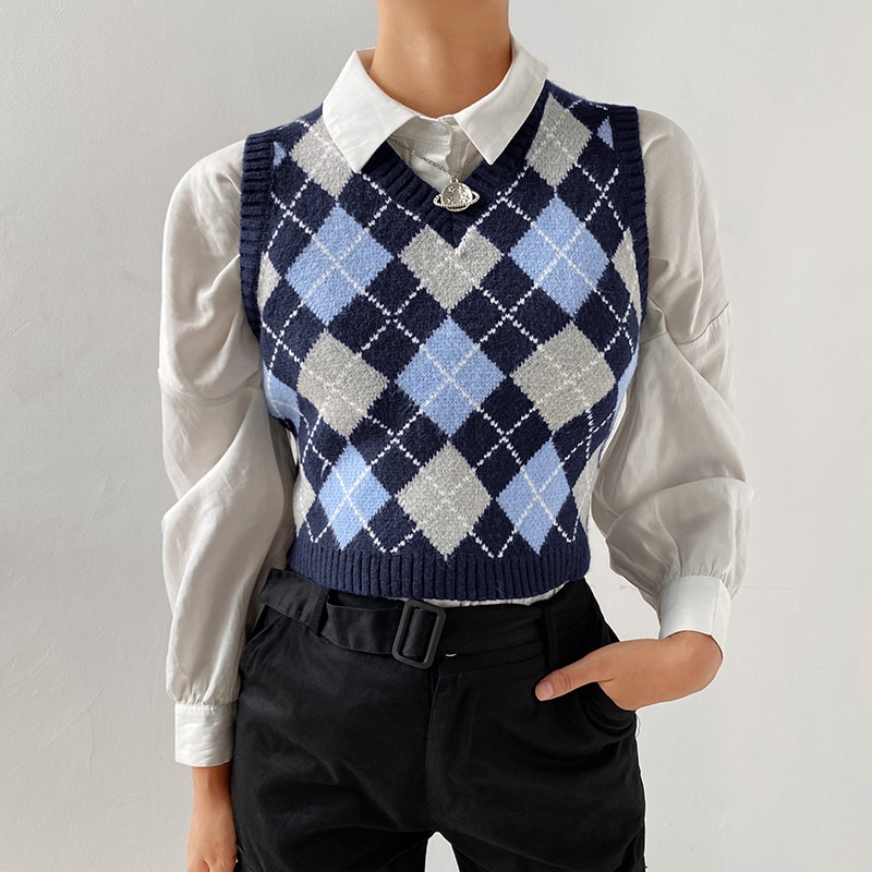 2020 Korean Style V-neck Vintage Geometric Argyle Short Waistcoat Pullovers Tops Sweater Vest Autumn Women Sexy Knitted Vest