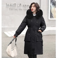 plus size x long winter down jacket women 2021 hooded solid casual womens with fur collar solid thick overcoat female