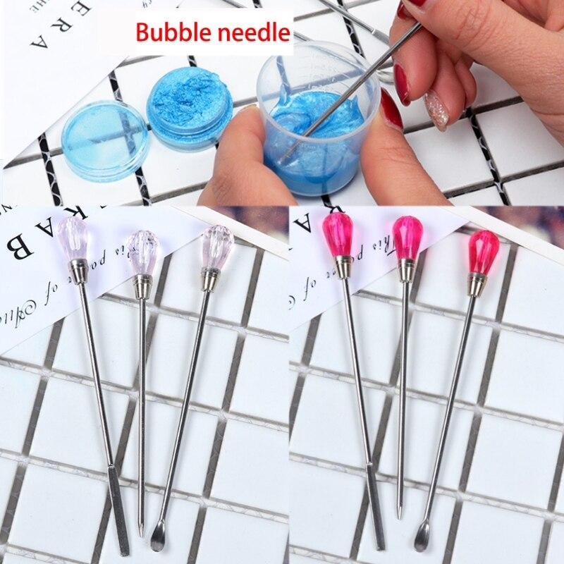Juego de 3 uds de cucharas de aguja para Molde de resina de silicona fabricación de joyas N58F