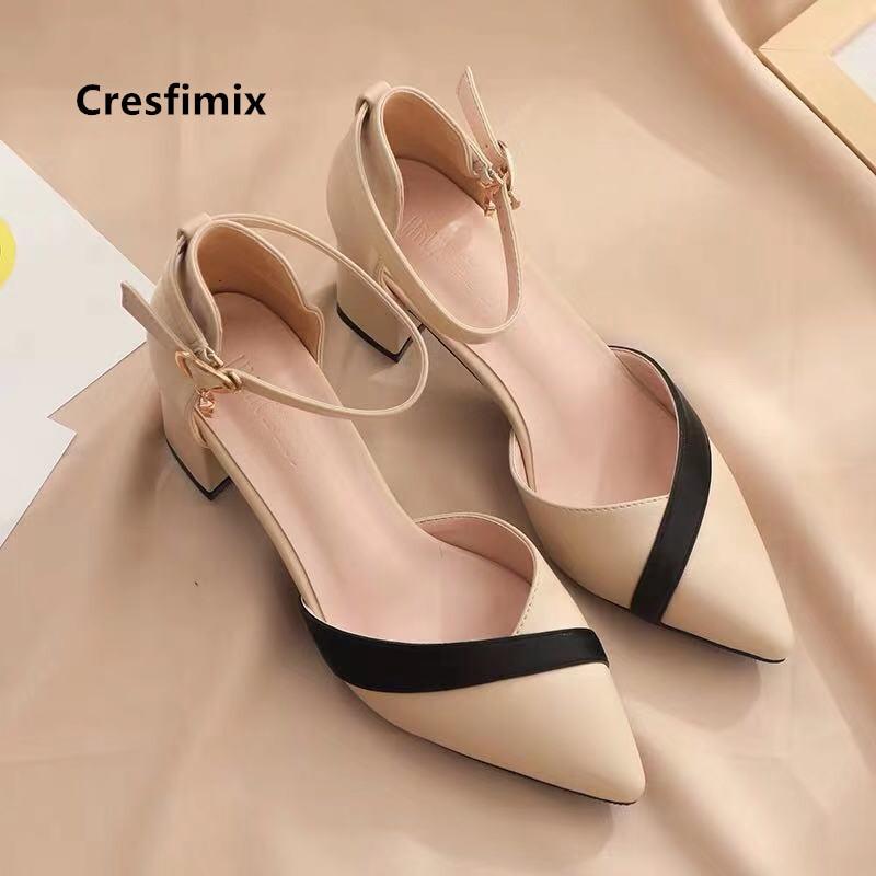 Cresfimix Women Classic Beige Square Heel Shoes for Party Ladies Classic Black Pu Leather Night Club Pumps Sapato Feminino C5762