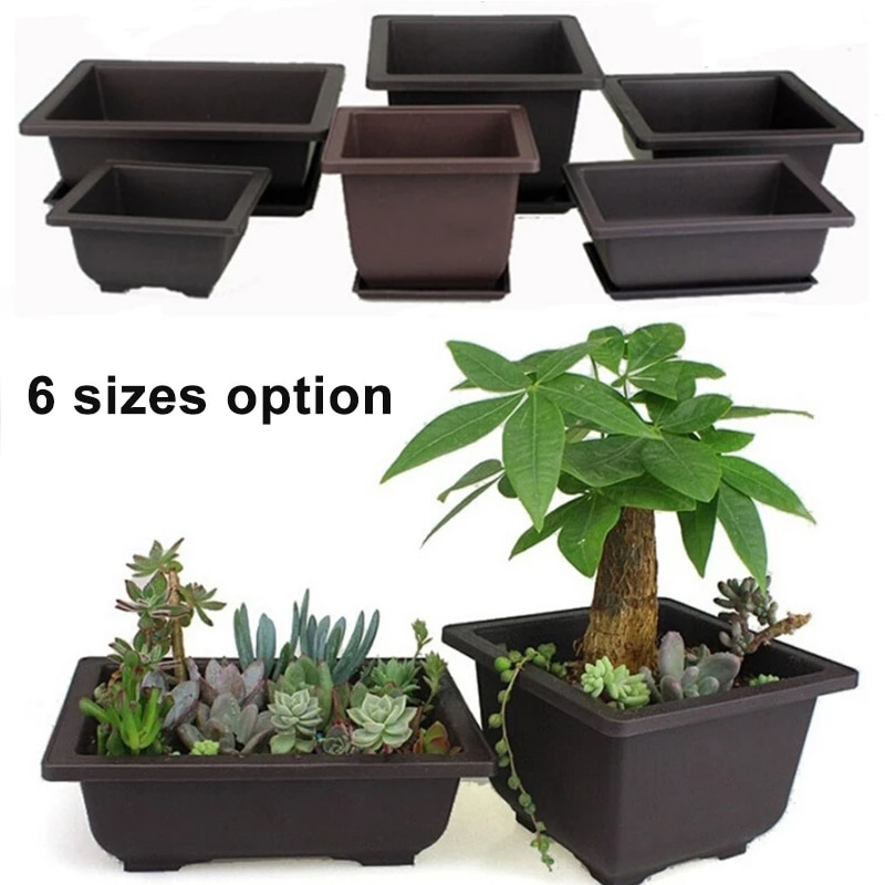 1Pc Flower Pot Antique Rectangular Plastic Bonsai Bowl Platenursery Basin Planter With Tray Small Potted Bonsai Square Pots
