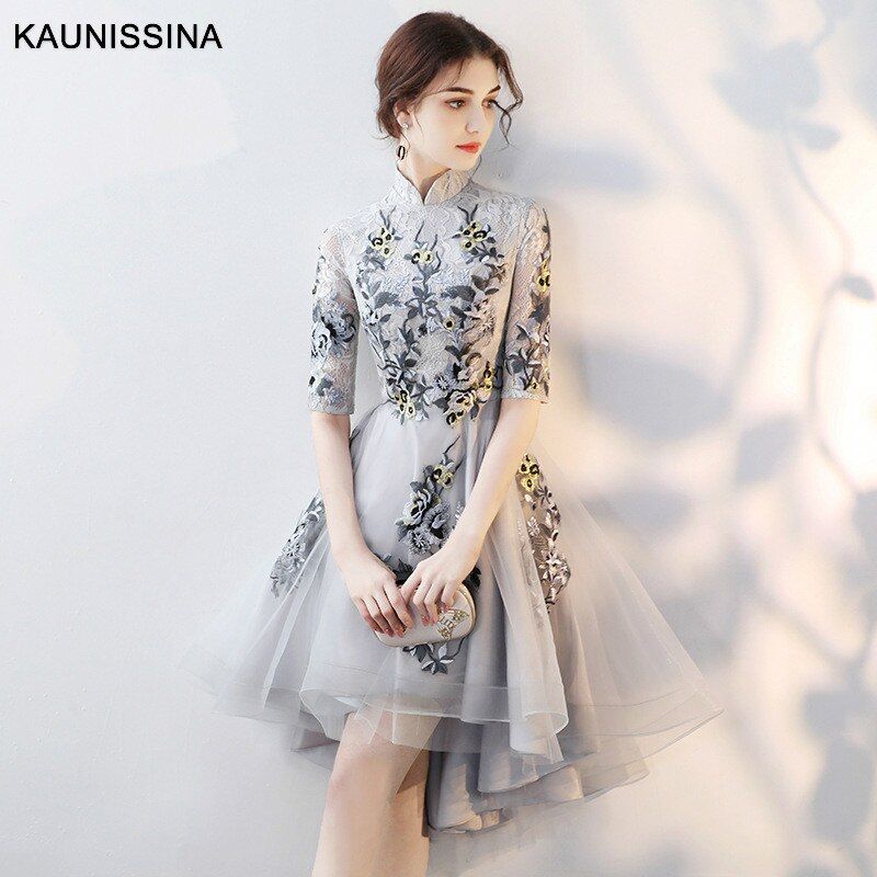KAUNISSINA-فستان كوكتيل فاخر مطرز ، ياقة عالية ، نصف كم ، زهور ، طول الركبة ، فستان سهرة رسمي