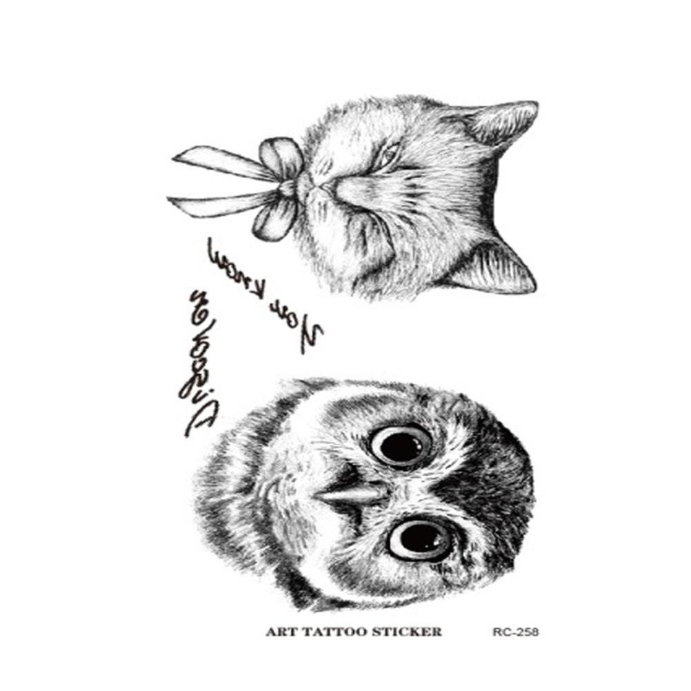5 uds caliente nuevas viñetas de animales 3D búho gato tatuajes adhesivos resistentes al agua mano gato tatuajes temporales 10,5*6cm