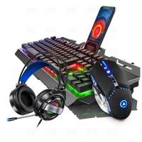 104 keys gaming keyboard mouse headset combos mechanical feel game rgb keyboards 3200dpi mice headphone set for pc laptop gamer