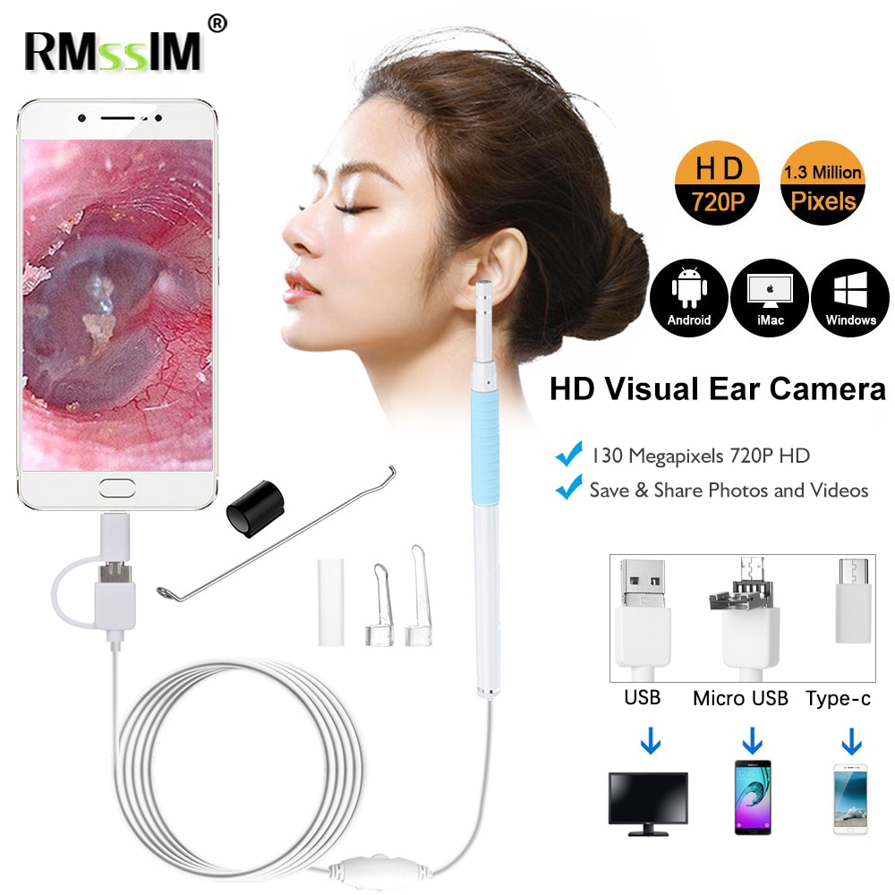 New 3 in1 HD Medical In Ear Cleaning Endoscope Spoon Mini Camera Otoscope Mouth Nose Otoscope Tool E