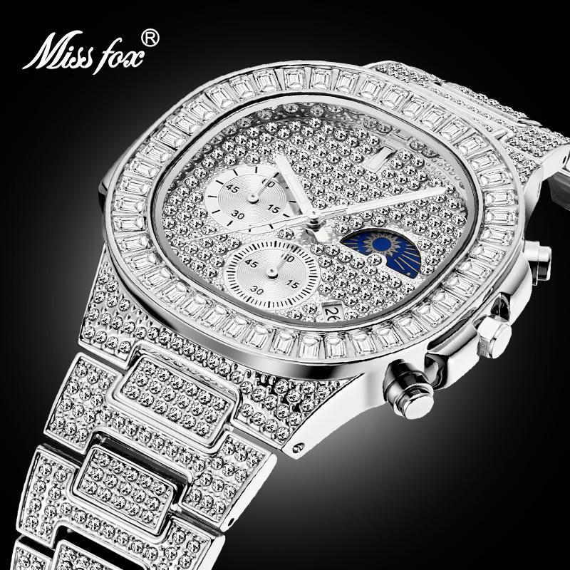 Marca de Luxo Cronógrafo à Prova Missfox Relógios Masculinos Relógio Tendência Dbig Água Grande Baguette Diamante Calendário Masculino Dropshipping