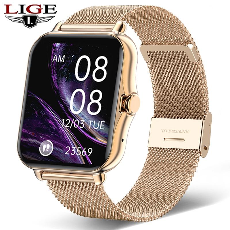 LIGE ساعة ذكية الرجال بلوتوث دعوة ECG امرأة سوار ذكي جهاز تتبع معدل ضربات القلب لأغراض اللياقة البدنية شاشة 1.69 بوصة مقاوم للماء Smartwatch