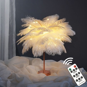 LED Feather Table Lamp Warm White Light Tree Lamp with Remote Control Feather Lampshade Wedding Decorative Lights Birthday Gift