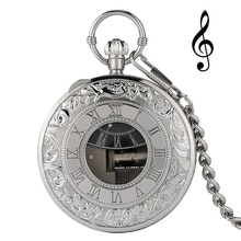 Luxury Silver Musical Movement Pocket Watch Quartz Hand Crank Playing Music Watch Fob Chain Pendant